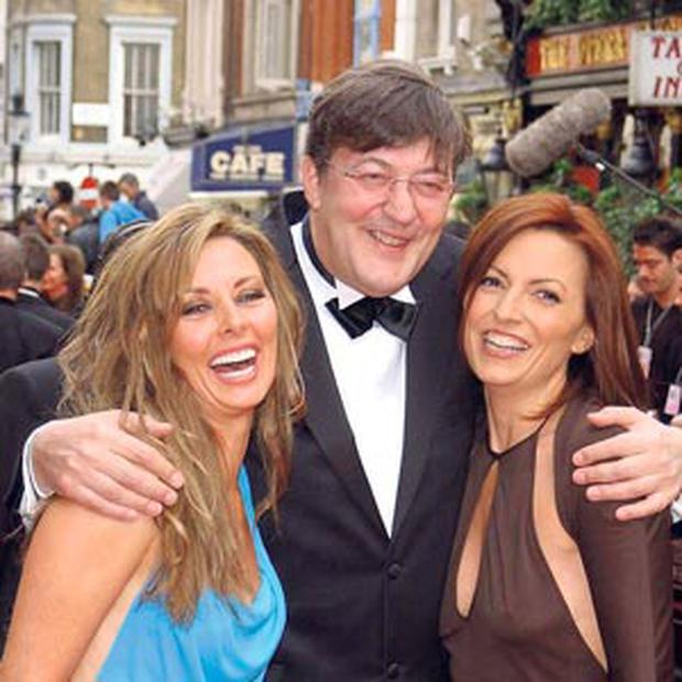 MAKING WAVES: TV star, actor and Twitter royalty Stephen Fry, pictured with Carol Vorderman, left, and Davina McCall, has rowed in behind Irish software start-up Soundwave, which may be just about to completely revolutionise the global music industry.