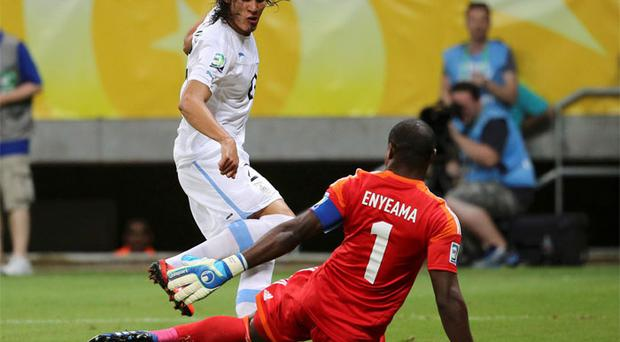 Edinson Cavani in action for Uruaguay against Nigeria in the Confederations Cup