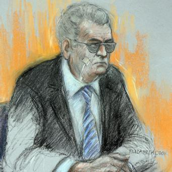 Court artist sketch by Elizabeth Cook of Moors murderer Ian Brady appearing via video link at Manchester Civil Justice Centre. Photo: Elizabeth Cook/PA