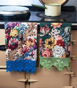Edged towels project, featured in Vintage Home