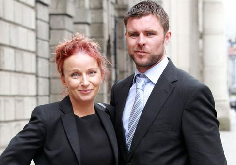 Eimear and Glenn Byrne, leaving court after their Circuit Civil Court action. Photo: Collins