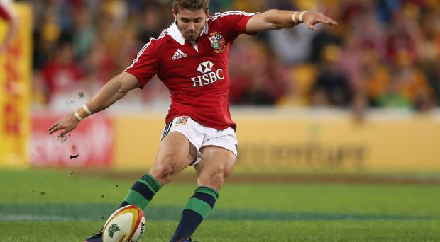 Leigh Halfpenny of the Lions kicks a penalty during the First Test match between the Australian Wallabies and the British & Irish Lions