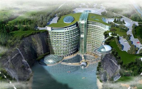 Its unusual centrepiece will be a 100-metre-high waterfall that will spill from the hotel roof down to an atrium on the ground floor.