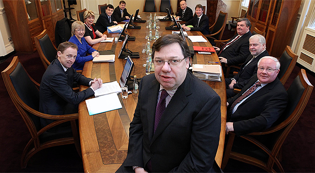 Taoiseach Brian Cowen at a cabinet meeting in February 2011