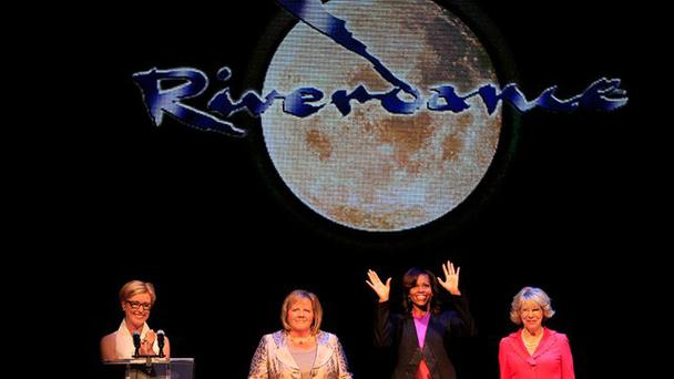 Michelle Obama is joined by Fionnuala Kenny, Sabina Higgins and Moya Doherty for a special performance of Riverdance