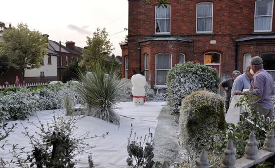 House on Church Ave in Rathmines covered in fake snow last night for a winter scene on the set of