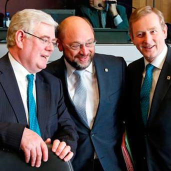 Foreign Minister Eamon Gilmore, European Parliament President Martin Schulz and Taoiseach Enda Kenny attend a meeting on the Multiannual Financial Framework in Brussels.