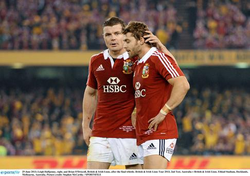 Leigh Halfpenny and Brian O'Driscoll after the final whistle