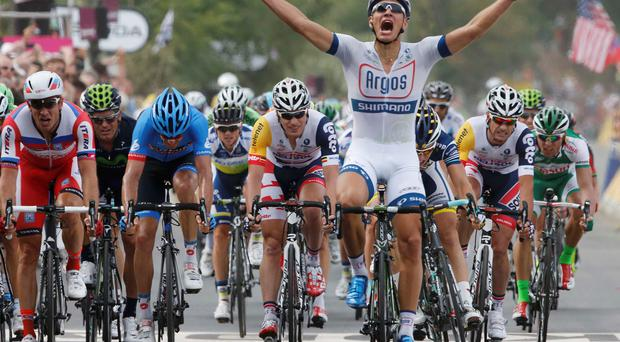 Argos-Shimano team rider Marcel Kittel of Germany celebrates as he wins the 213 km first stage of the centenary Tour de Franc