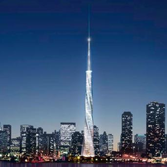Artist's rendering of the Chicago skyline as it would appear with the 150-story spire in the centre.