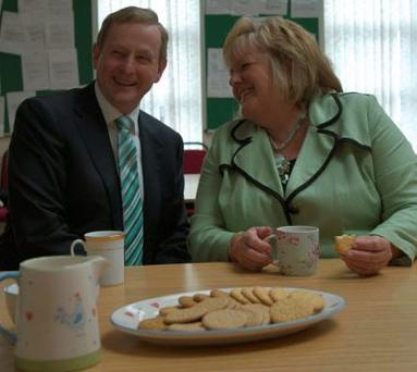 Enda Kenny enjoying a cup of tea with wife Fionnuala.