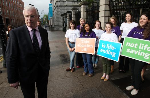 Fine Gael TD Peter Mathews leaving Leinster House in Dublin after voting against the protection of Life during pregnancy bill