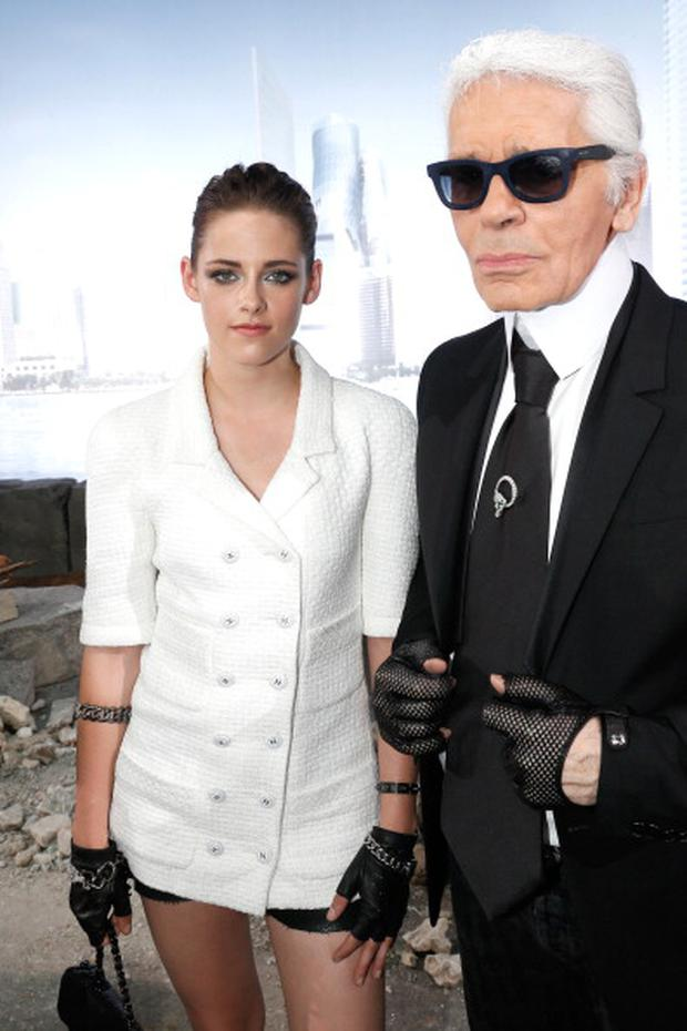 Kristen Stewart and fashion Designer Karl Lagerfeld