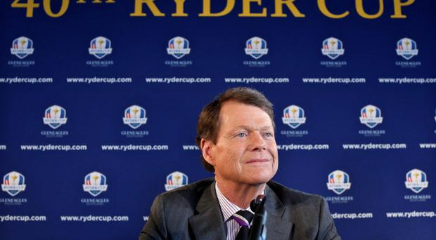 Tom Watson speaks to the press after being introduced as Ryder Cup captain in New York