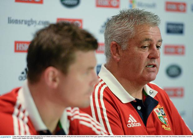 British & Irish Lions head coach Warren Gatland and Brian O'Driscoll