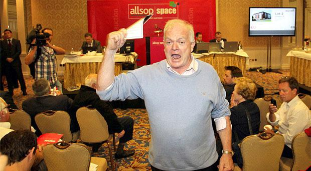 Gerry Beades from 'Debt Options' protesting during the Allsop auction at the Shelbourne Hotel in Dublin