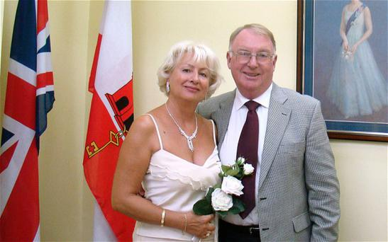 Maria Saward and her husband Paul getting married in Gibralta in 2009