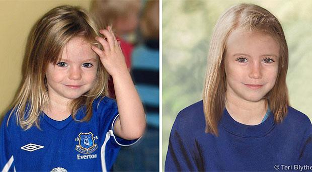 Madeleine McCann, left aged three, and, above, an age progression image of how she would look now