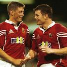 Ronan O'Gara and Brian O'Driscoll during the Lions 2001 tour of Australia