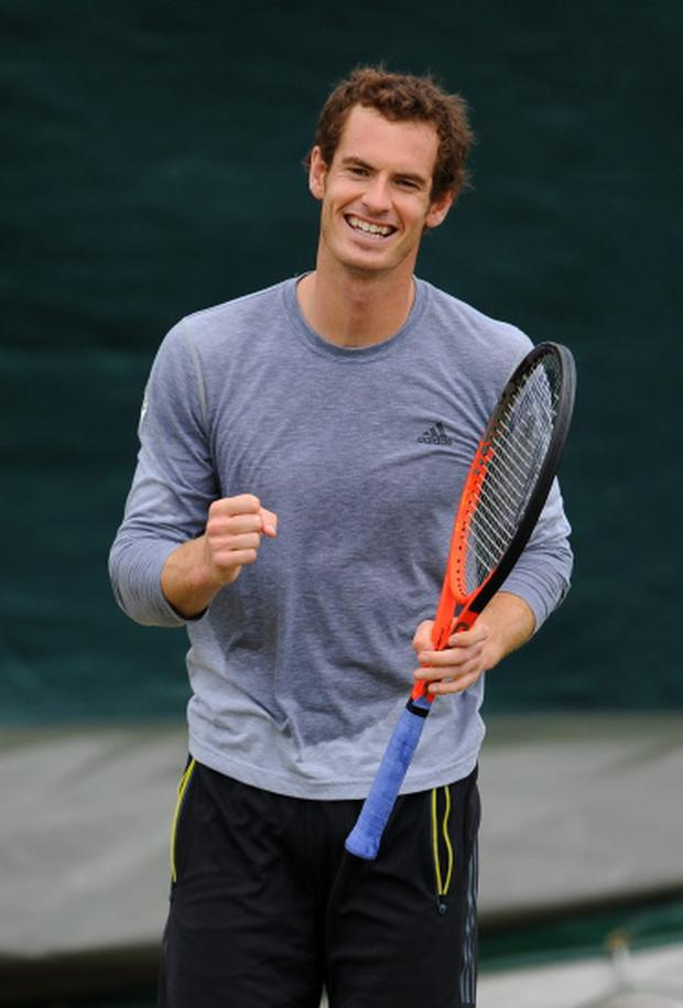 Great Britain's Andy Murray in a practice session during day ten of Wimbledon