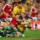 James O'Connor of the Wallabies scores a try just before the break