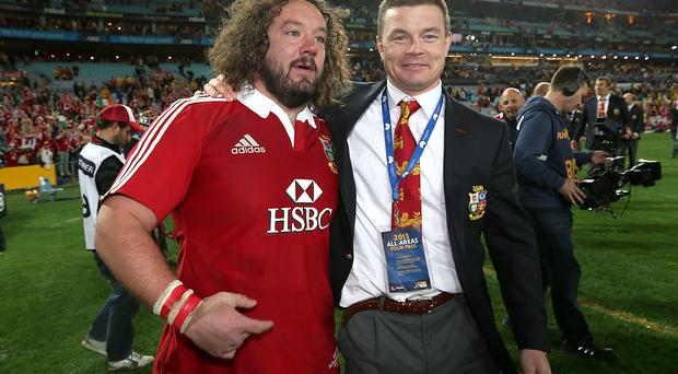 Adam Jones featuring for the Lions in 2013 alongside Brian O'Driscoll