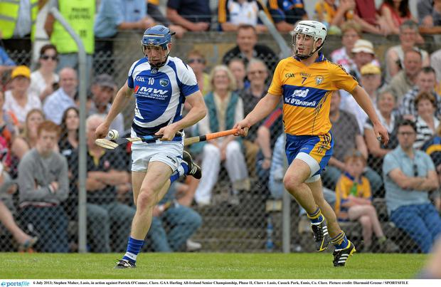 Stephen Maher, Laois, in action against Patrick O'Connor