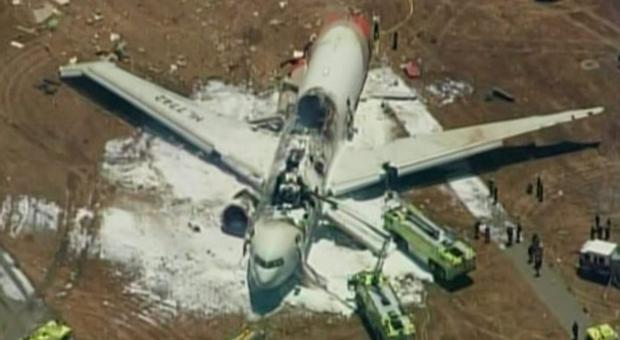 An Asiana Airlines Boeing 777 is pictured after it crashed while landing in this KTVU image at San Francisco International Airport in California, July 6, 2013. Picture: Reuters