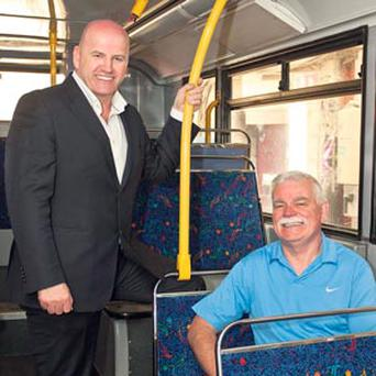 RINGSIDE SEAT: Sean Gallagher gets the tour of Ardee Coach Trim with managing director Frank Lennon.
