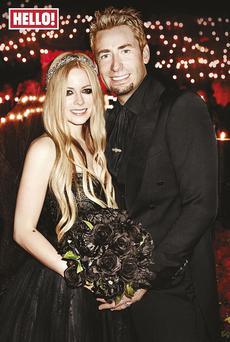 Avril Lavigne's wedding portrait with Nickelback frontman Chad Kroeger. Picture: Hello! Magazine