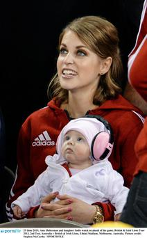 Amy Huberman and daughter Sadie watching the game on Saturday
