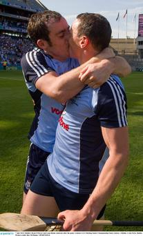 Dublin's Ryan O'Dwyer and Liam Rushe celebrate after the game