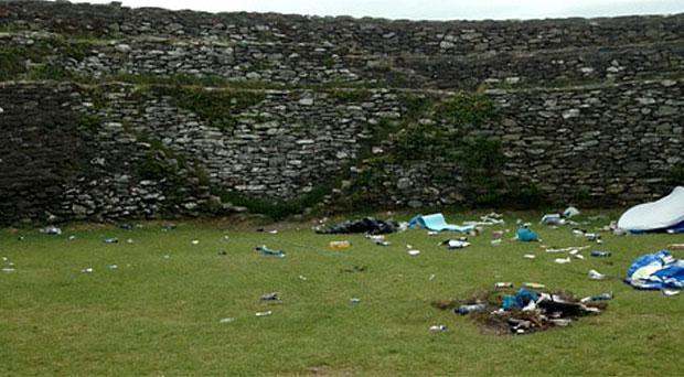 Rubbish and debris left behind in the Grianan of Aileach ring fort