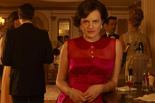 Elisabeth Moss in character as Peggy Olson on Mad Men