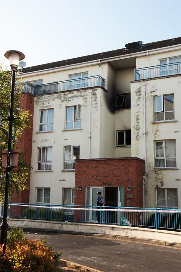The fire-damaged apartment block in Thornfield, Clondalkin