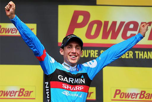Dan Martin celebrates winning stage nine of the Tour de France