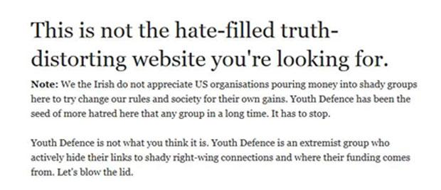 The message above appeared on the Youth Defence website this morning after it was targeted by hackers