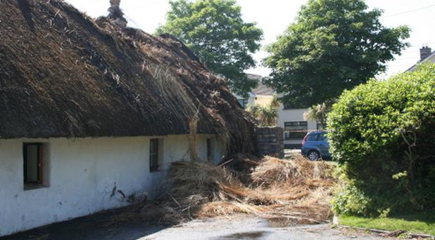 The scene at Portmarnock where a thatched roof was set alight