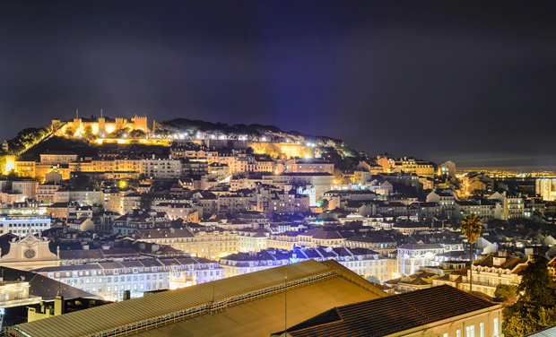 Lisbon old town at night