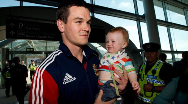 Johnny Sexton with little Tadgh Pitts (9months old) from Dublin