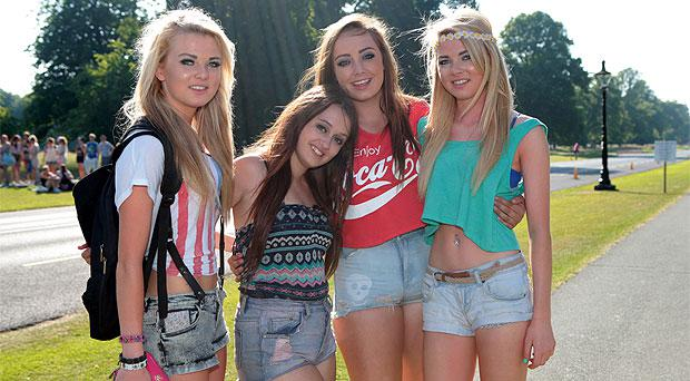 Claire O'Connor, Lizzy Launders, Laura Murphy and Aine O'Connor, Meath on the way to the Justin Timberlake concert in Phoenix Park