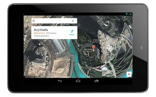 The new Google Maps app on the Google Nexus 7 Photo: Google