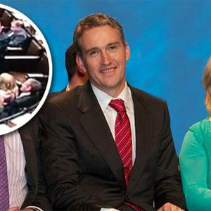 Fine Gael TDs Tom Barry and Aine Collins. Inset: The Dail 'horseplay' incident that has sparked outrage
