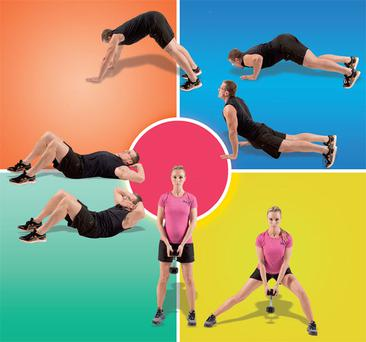 Clockwise from top left: Dive bomb push up, side lunges and crunches