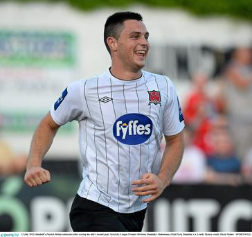 2013; Dundalk's Patrick Hoban celebrates after scoring the second of his three goals