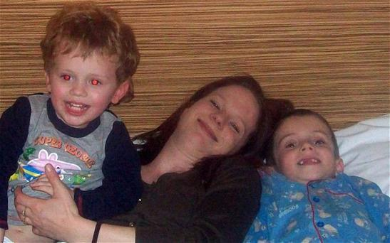 Kat Hooper with her two sons Joshua aged 5, and Samuel aged 2