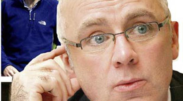 WARNING SIGNS: David Drumm, main, discussed with John Bowe, above, how Anglo was coming under pressure as early as November 2007.