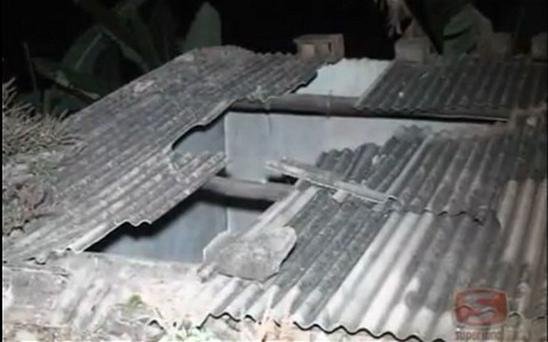 The damaged roof where the cow fell from
