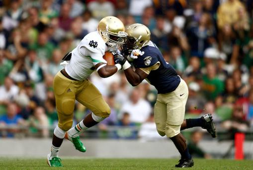 Action from the Notre Dame v Navy game which was held in Dublin last September