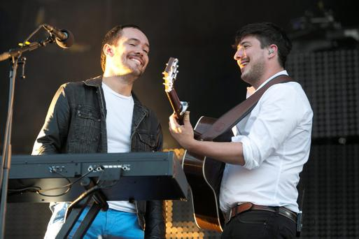 Mumford & Sons in performance at The Phoenix Park,Dublin.